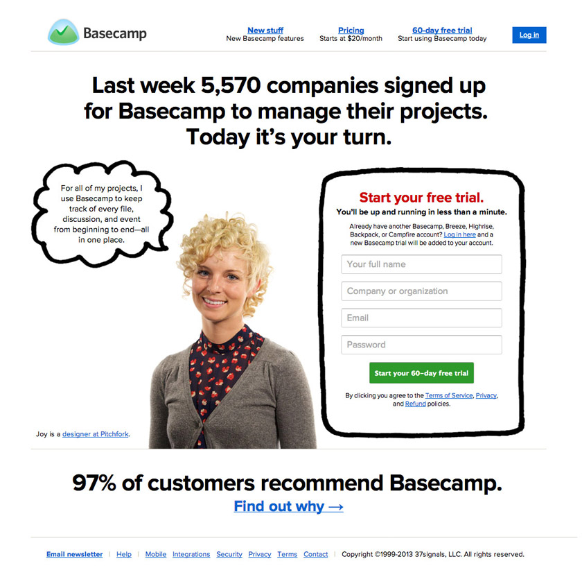 social proof basecamp homepage