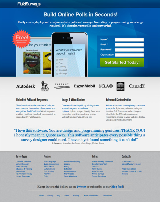 landing page example contrast and color