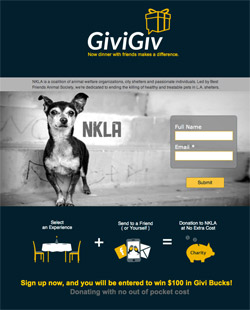 Givigiv Charity landing page