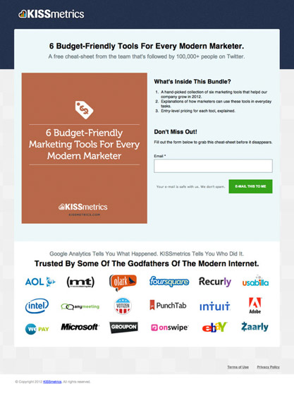 unbounce kissmetrics social proof