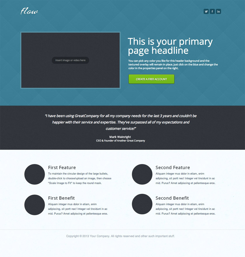 unbounce landing page example template whitespace