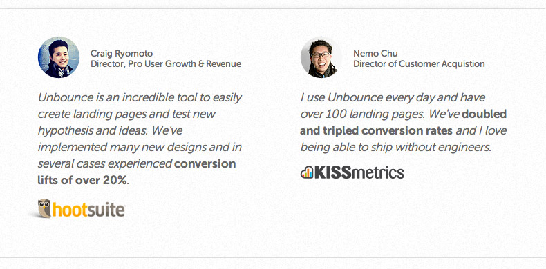 unbounce a/b test test testimonial vs video testimonial